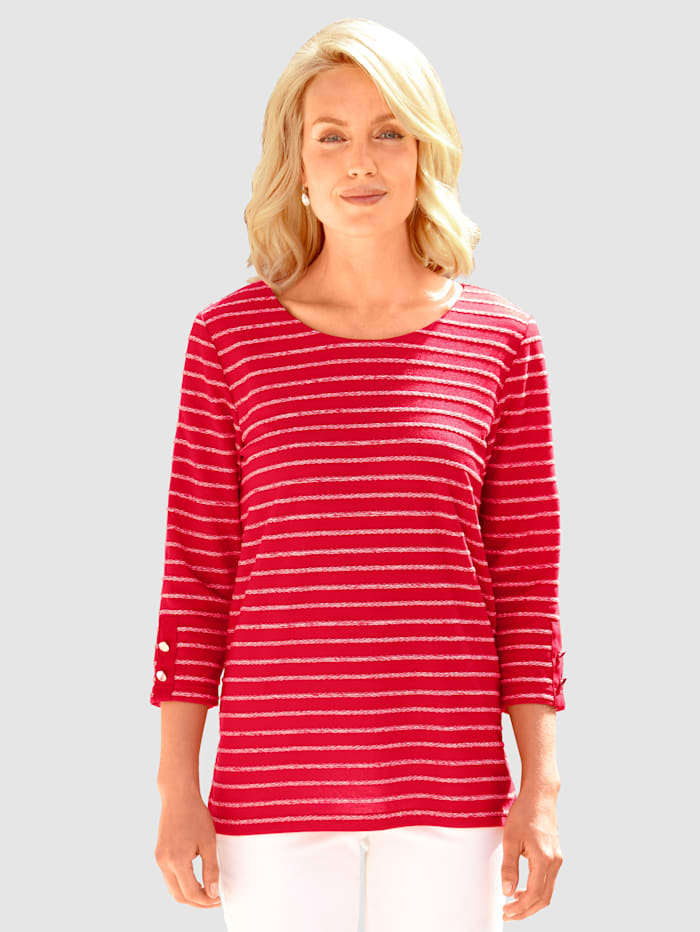 Paola Shirt met jacquardstrepen, Rood/Wit