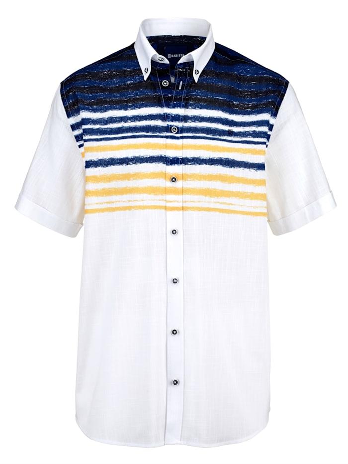 BABISTA Overhemd met fijne strepenstructuur, Wit/Blauw
