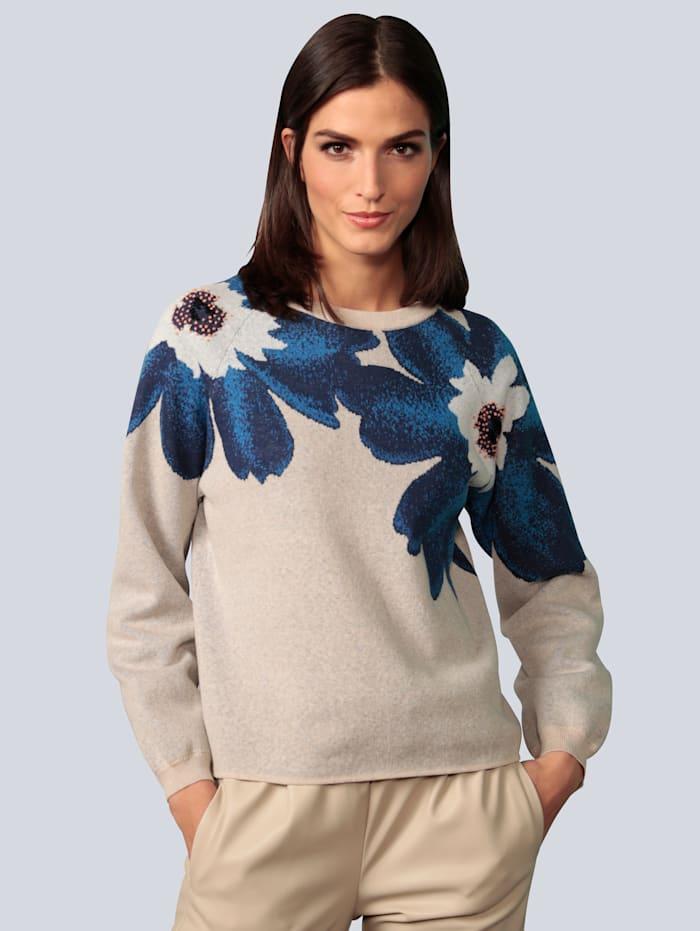 OUI Pullover mit eingestricktem Blumenmotiv, Hellgrau