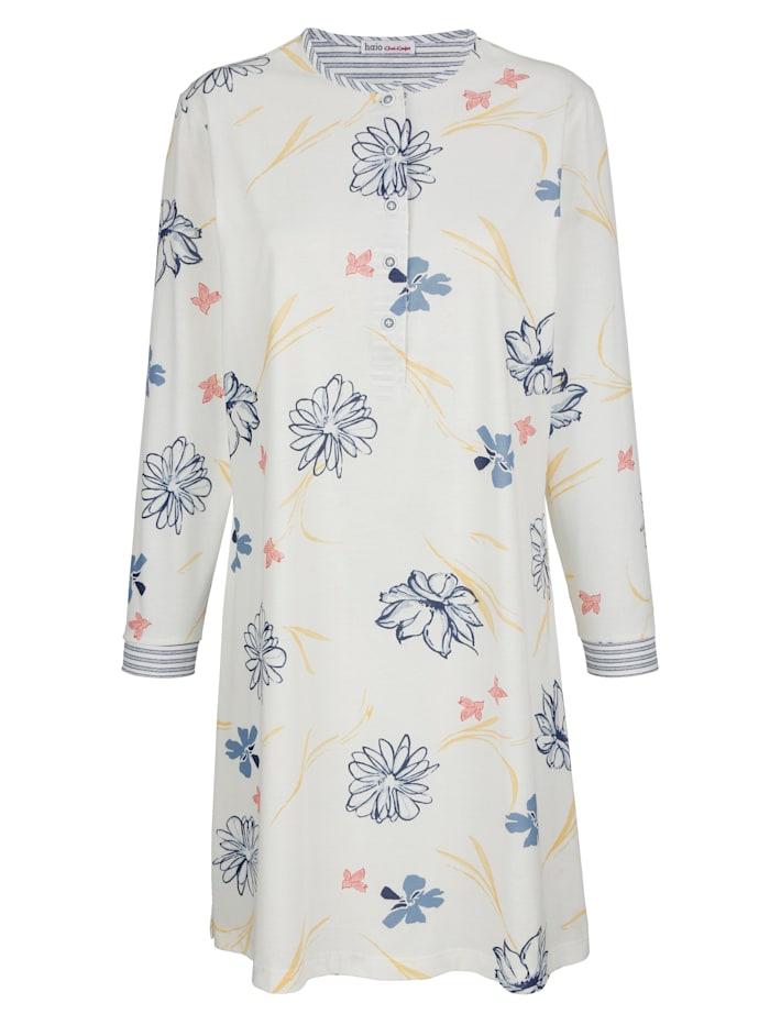 MONA Nachthemd mit geringelten Abschlüssen am Arm und am Hals, Ecru/Lachs/Blau