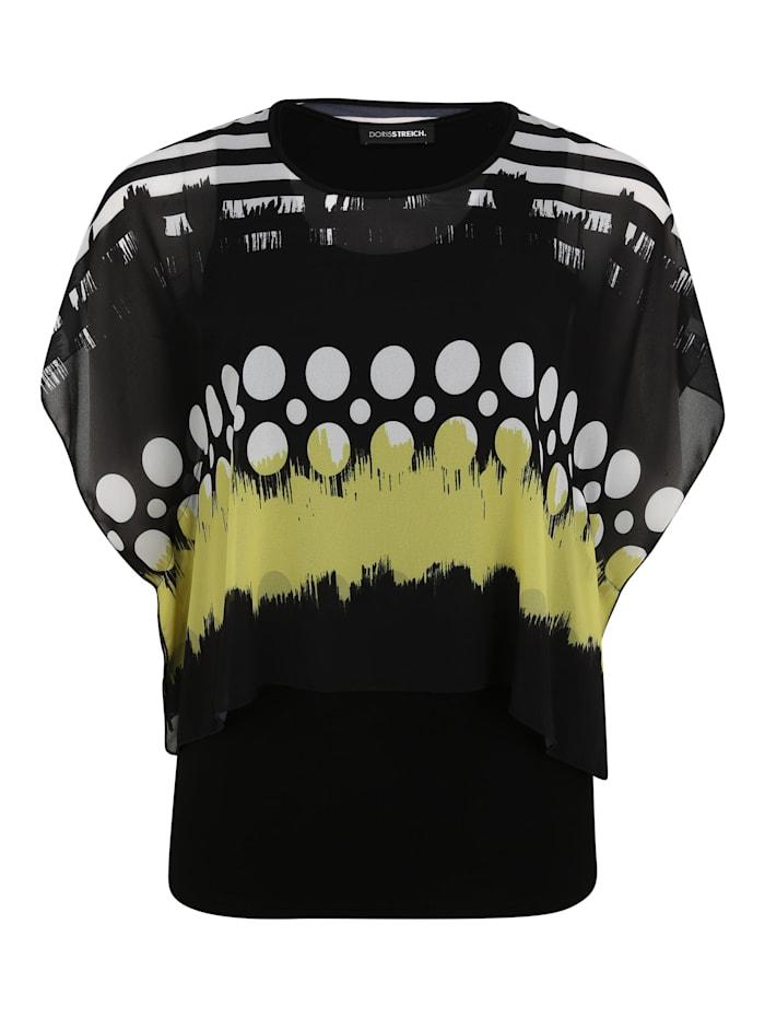 Doris Streich Bluse mit Überwurf, schwarz/weiß