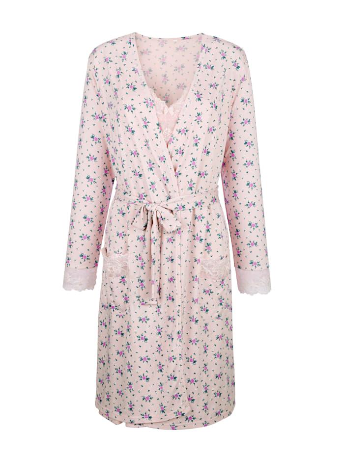 Simone Ensemble robe de chambre +nuisette avec détails romantiques en dentelle, Rose/Parme/Vert
