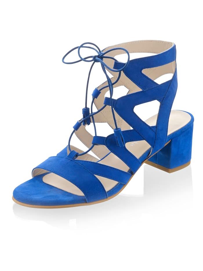 Alba Moda Sandalette aus weichem Ziegenveloursleder, Royalblau