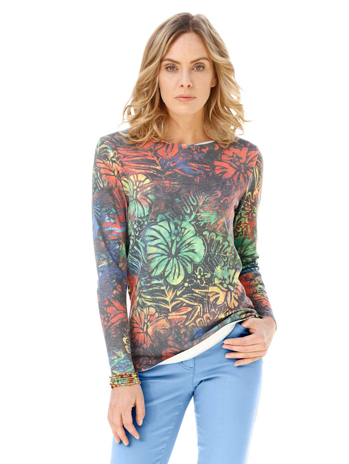 AMY VERMONT Pullover mit floralem Muster allover, Multicolor