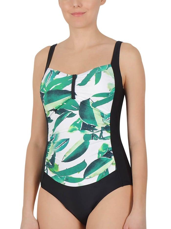 Naturana Damen Badeanzug mit Corsage, schwarz-weiß-aloe