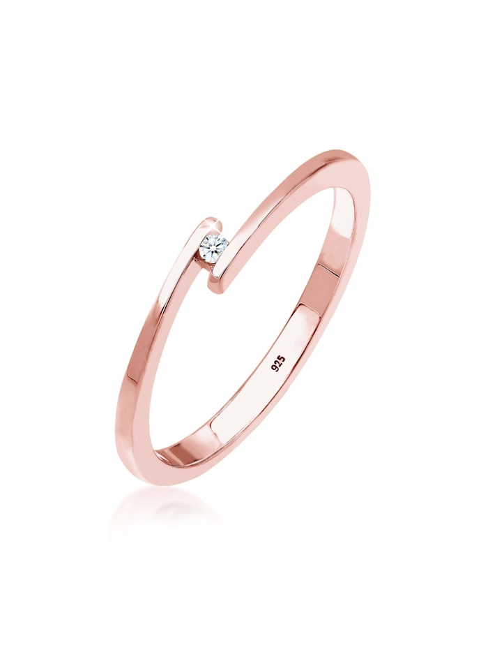 DIAMORE Ring Verlobungsring Solitär Diamant 0.015 Ct.925 Silber, Rosegold