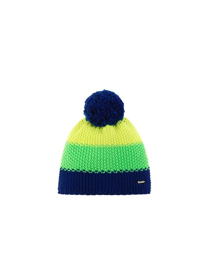 Eisbär Sportliche, grob-gestrickte Pompon-Mütze für Kinder <<Star>>, blitzblau-li.green-lightyellow