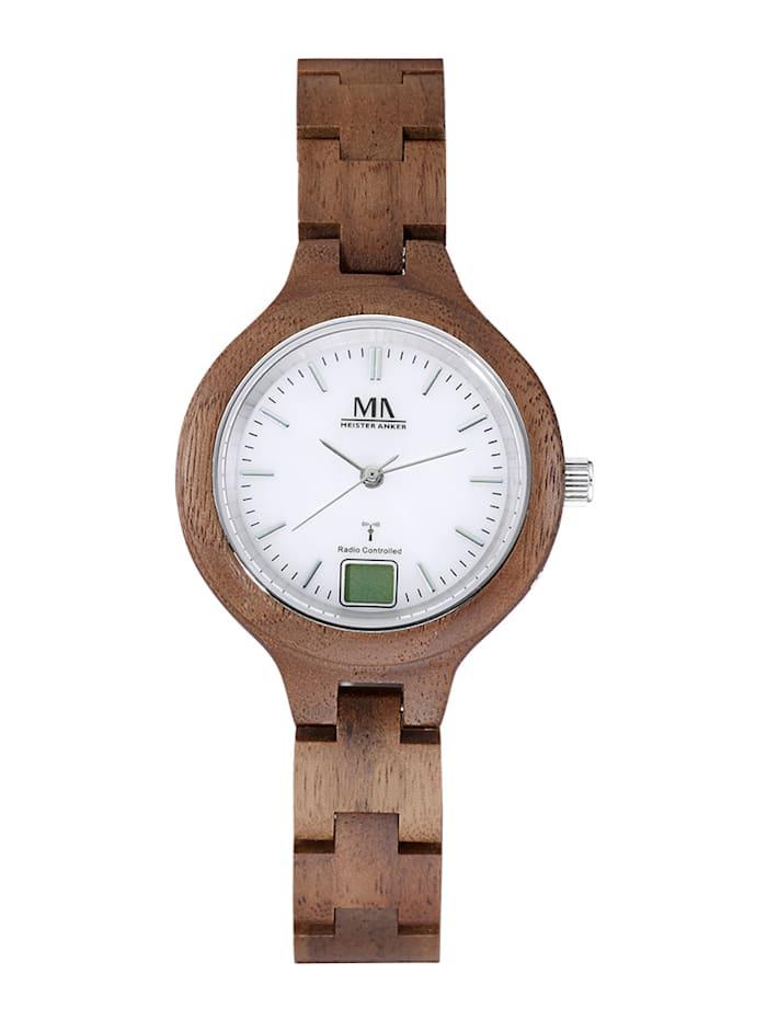Meister Anker Dámské hodinky s pouzdrem z ořechového dřeva, Hnědá