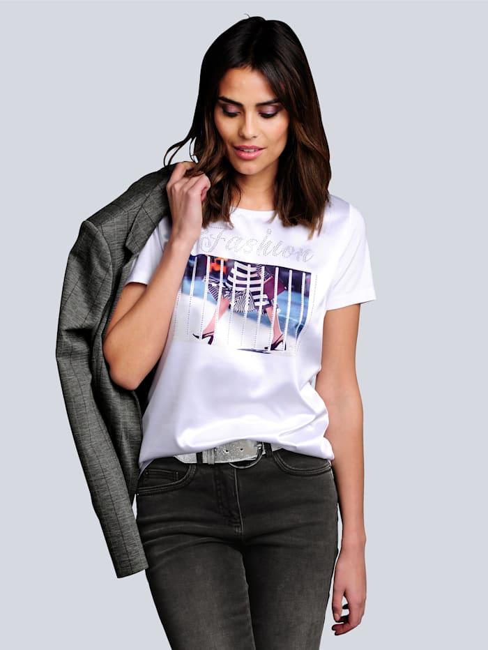 Alba Moda Shirt mit modischem Druck im Vorderteil, Weiß