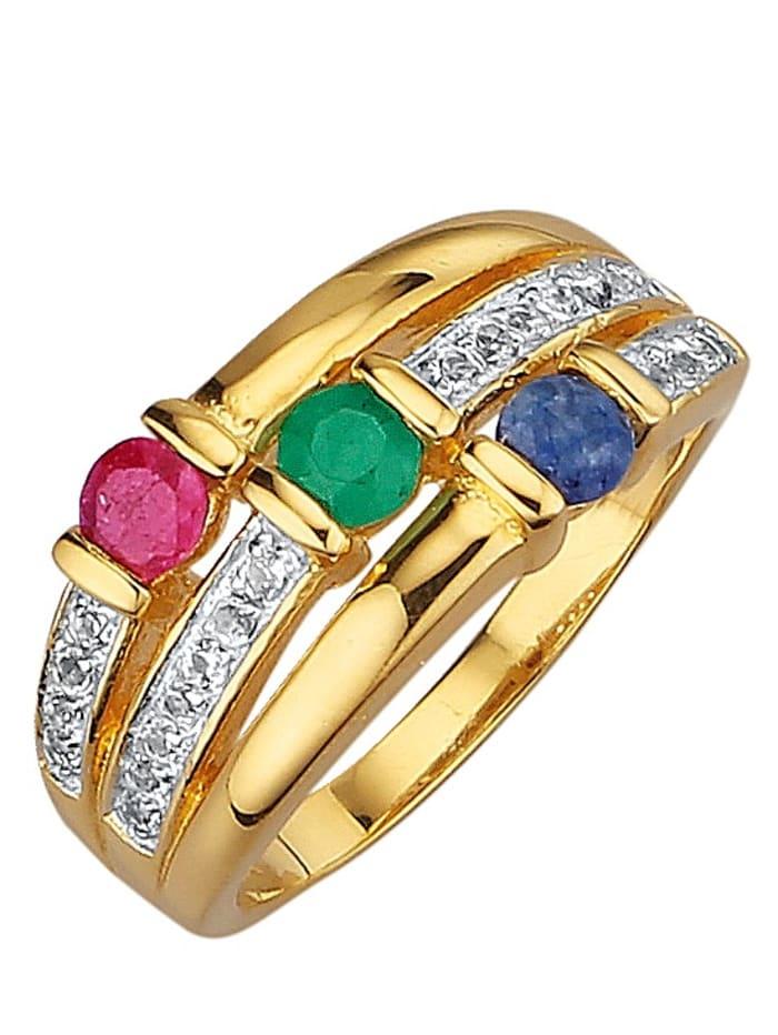 Damenring mit Farbsteinen, Multicolor