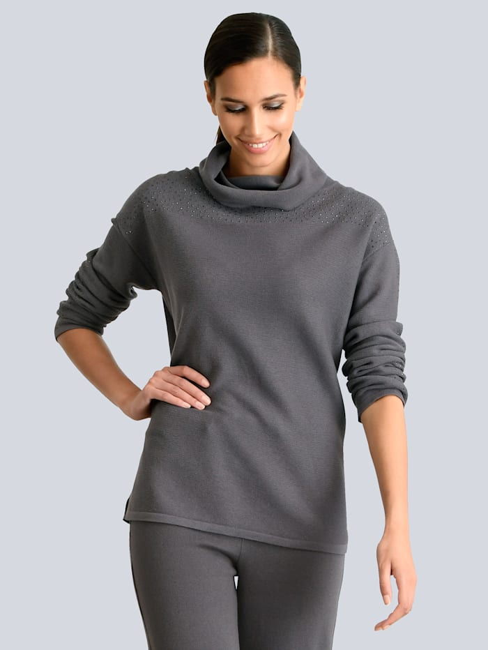 Alba Moda Pullover mit tonigem Strass verziert, Grau