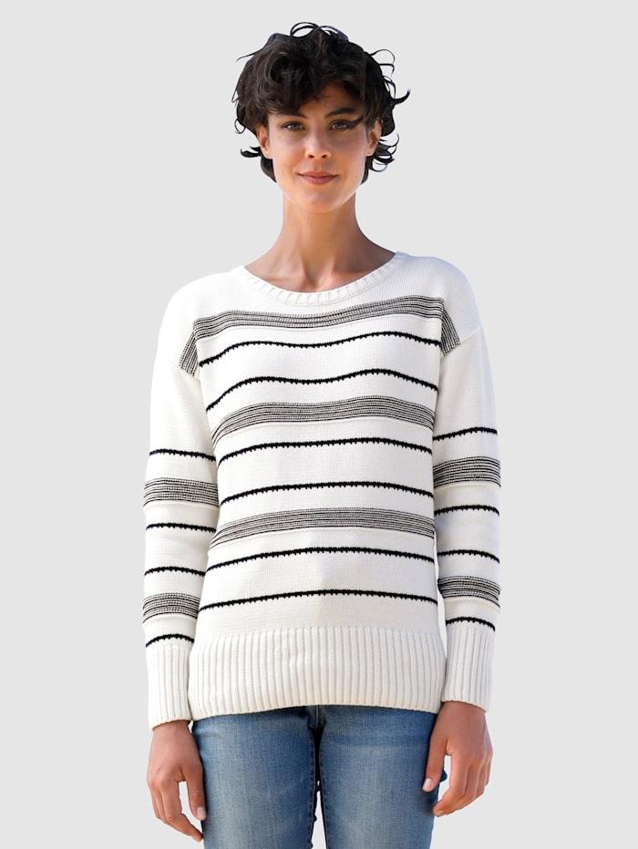 Dress In Strickpullover mit Ringel, Off-white/Marineblau