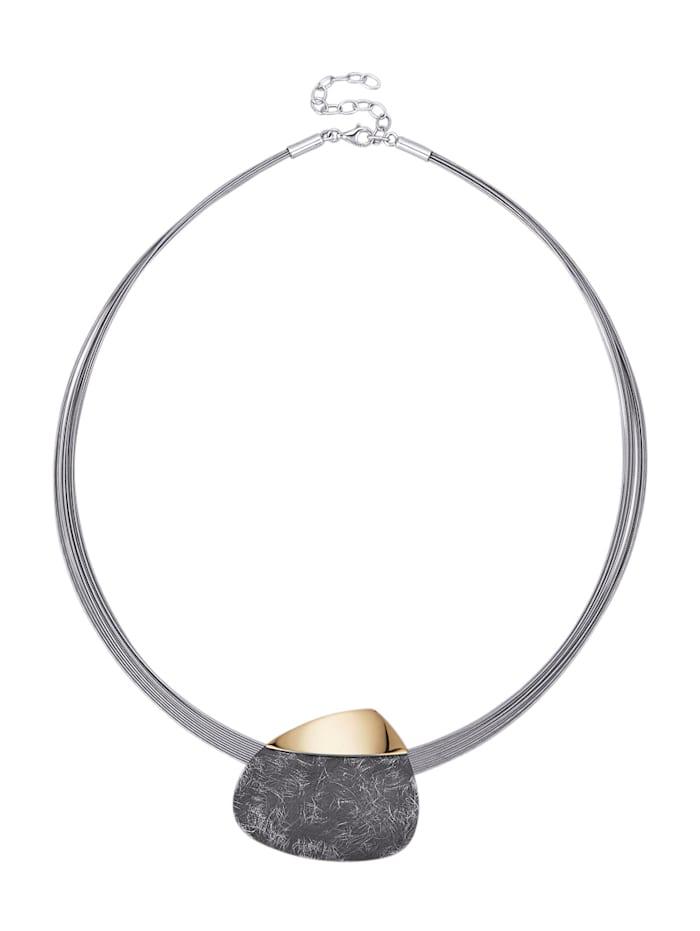 Diemer Trend 12rhg. Collier aus Silber 925 und Edelstahl, Grau