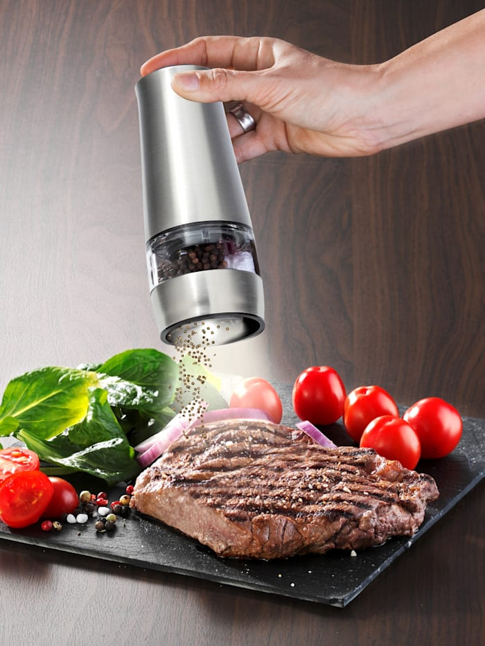 Maximex Elektrische zout- en pepermolen, Zilverkleur