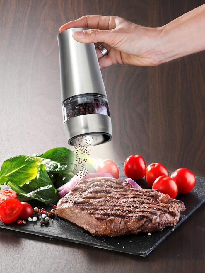 Maximex Moulin électrique sel & poivre 2 en 1, mécanisme de broyage en céramique, lumière LED, Coloris argent