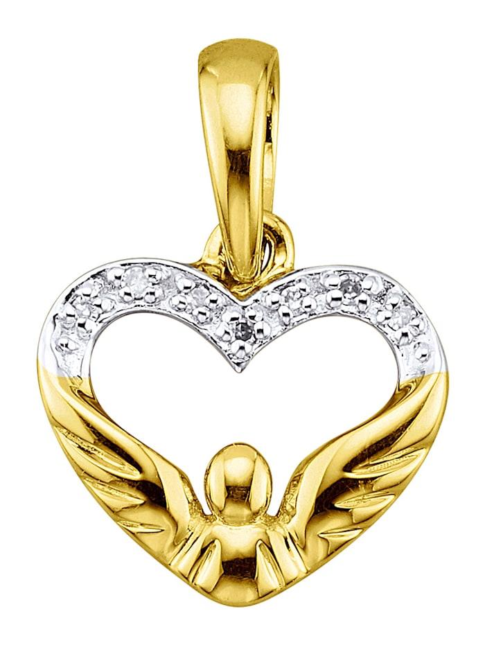Hanger Hart met diamanten, Geelgoudkleur