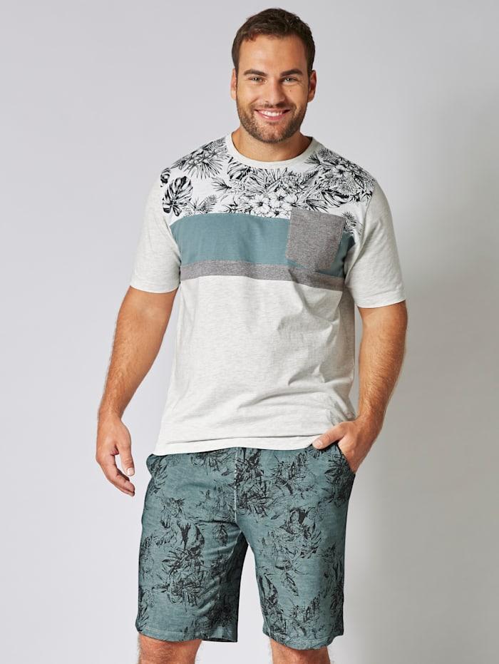 Men Plus T-shirt in gemêleerde look, Wolwit