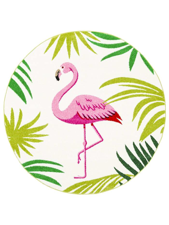 Pergamon Designer Teppich Faro Tropical Flamingo Rund, Rosa