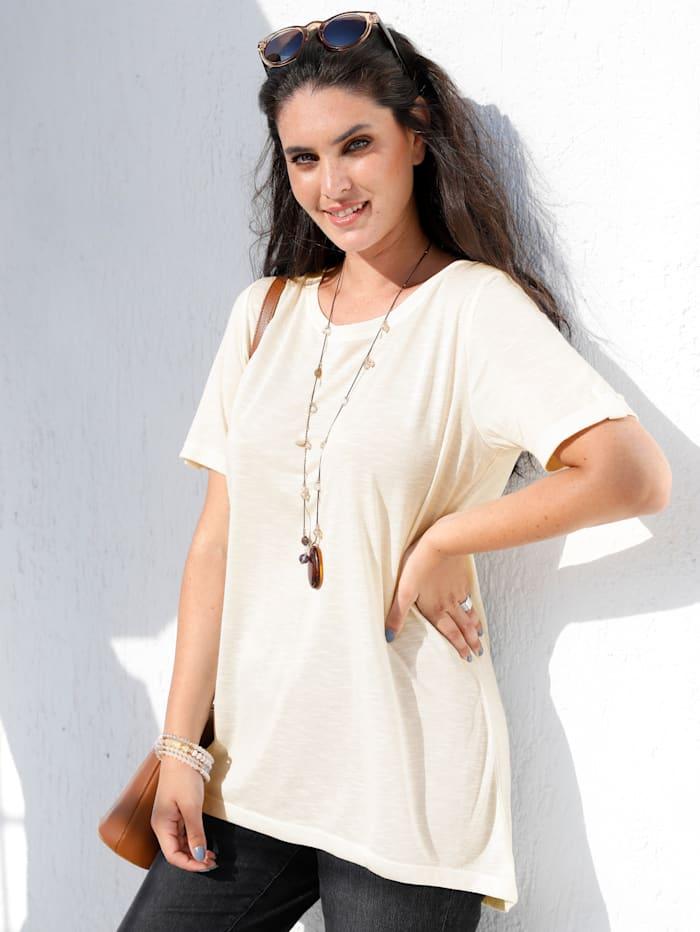MIAMODA Shirt mit Vokuhila Saum, Weiß
