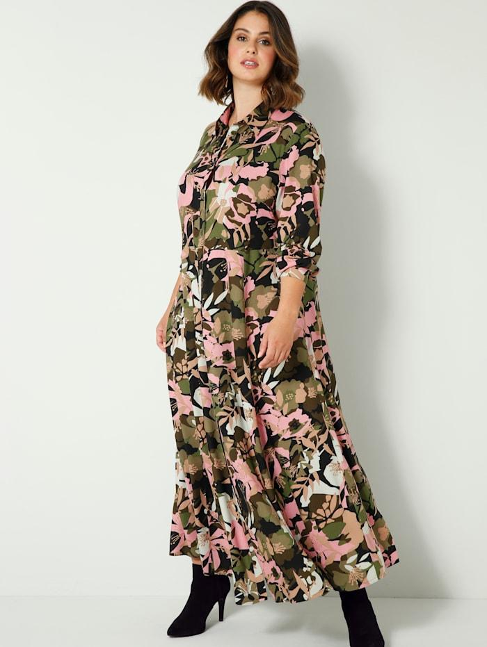Sara Lindholm Maxi-jurk met flatterende A-shape, Zwart/Roze/Aarde