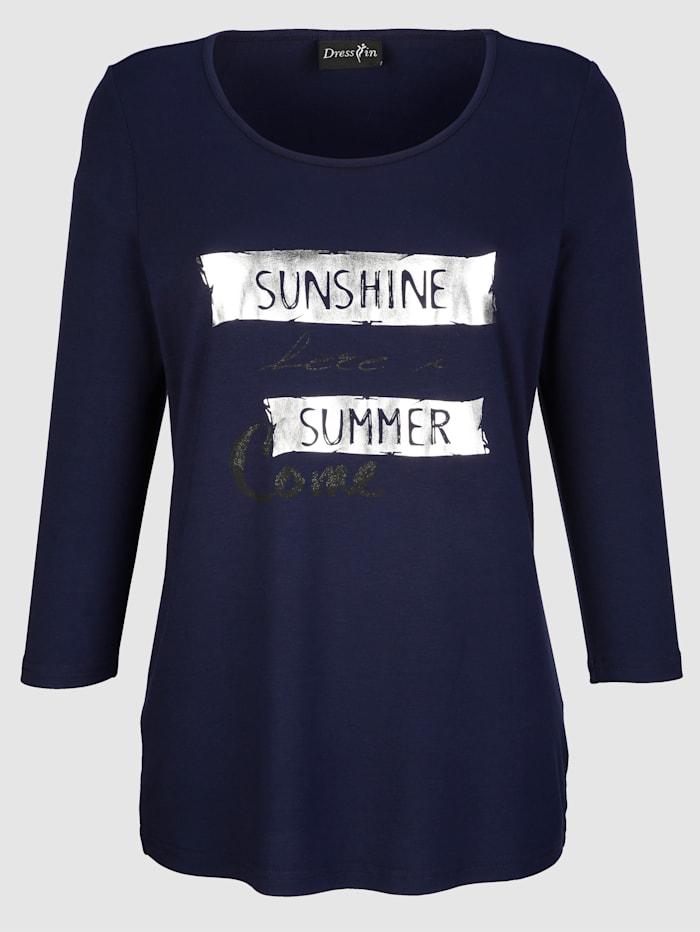 Dress In Shirt mit Schriftzug, Marineblau