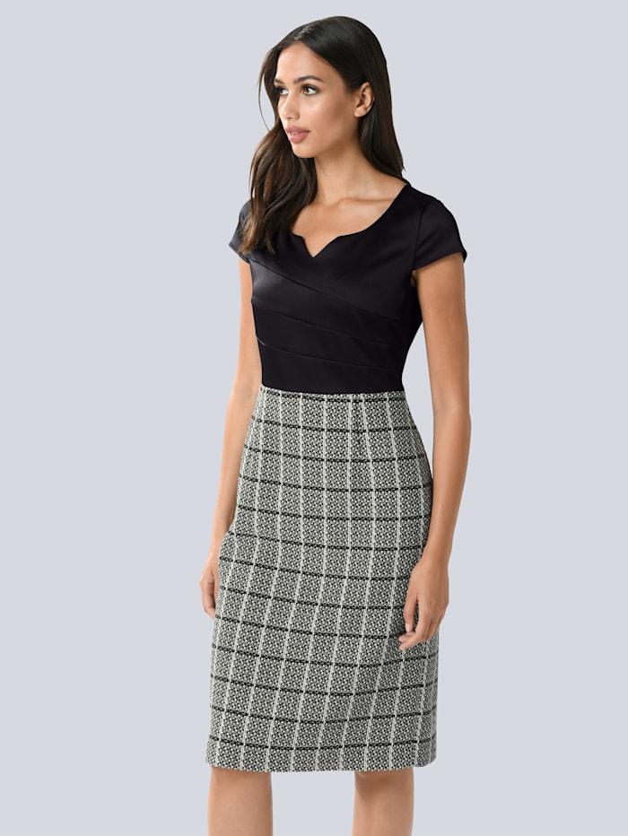 Alba Moda Kleid mit satiniertem Oberteil, Schwarz/Weiß