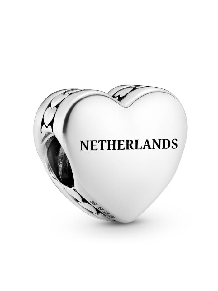 Pandora Charm -Herz- Schriftzug Netherlands und Tulpe - 792015 E041, Silberfarben