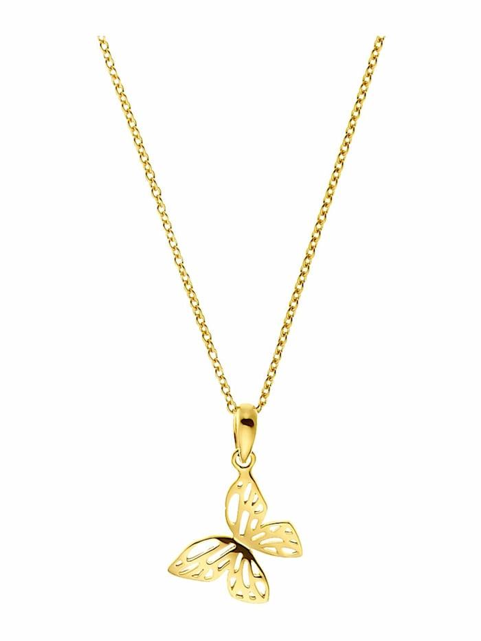 amor Kette mit Anhänger für Damen, Sterling Silber 925 vergoldet   Schmetterling, Gold
