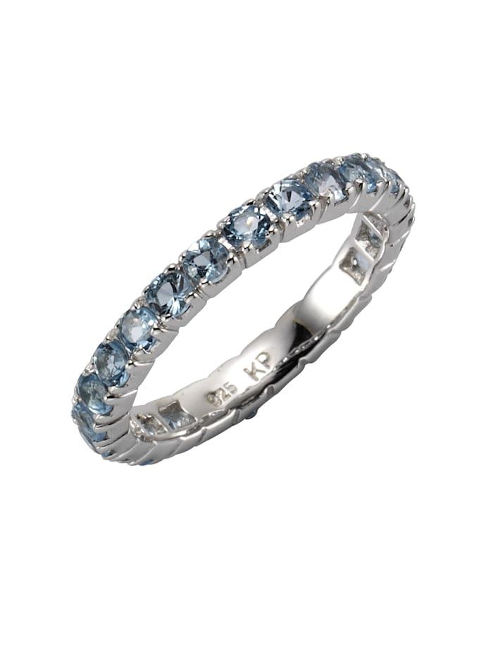 ZEEme Ring 925/- Sterling Silber Blautopas beh. blau Glänzend 925/- Sterling Silber, weiß