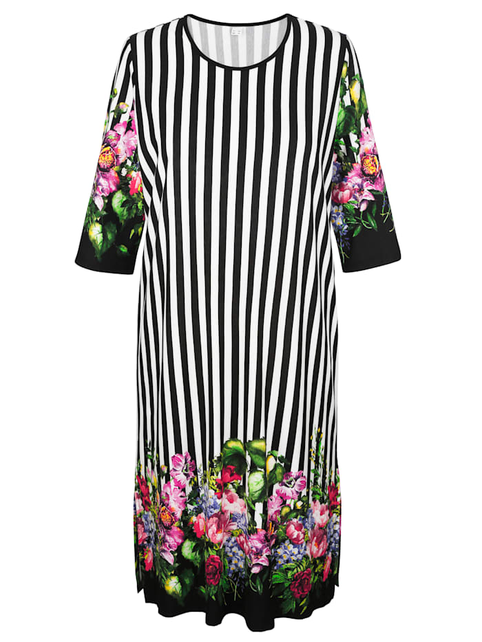 Harmony Hauskleid mit hübschem Bordürendruck, Schwarz/Weiß/Grün