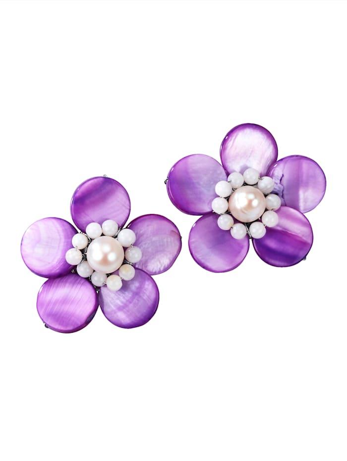 Blumen-Ohrclips, Flieder