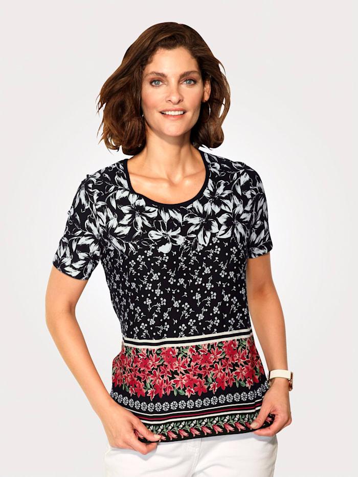 MONA Shirt mit platzierten floralen Druck in Streifenoptik, Schwarz/Koralle/Weiß
