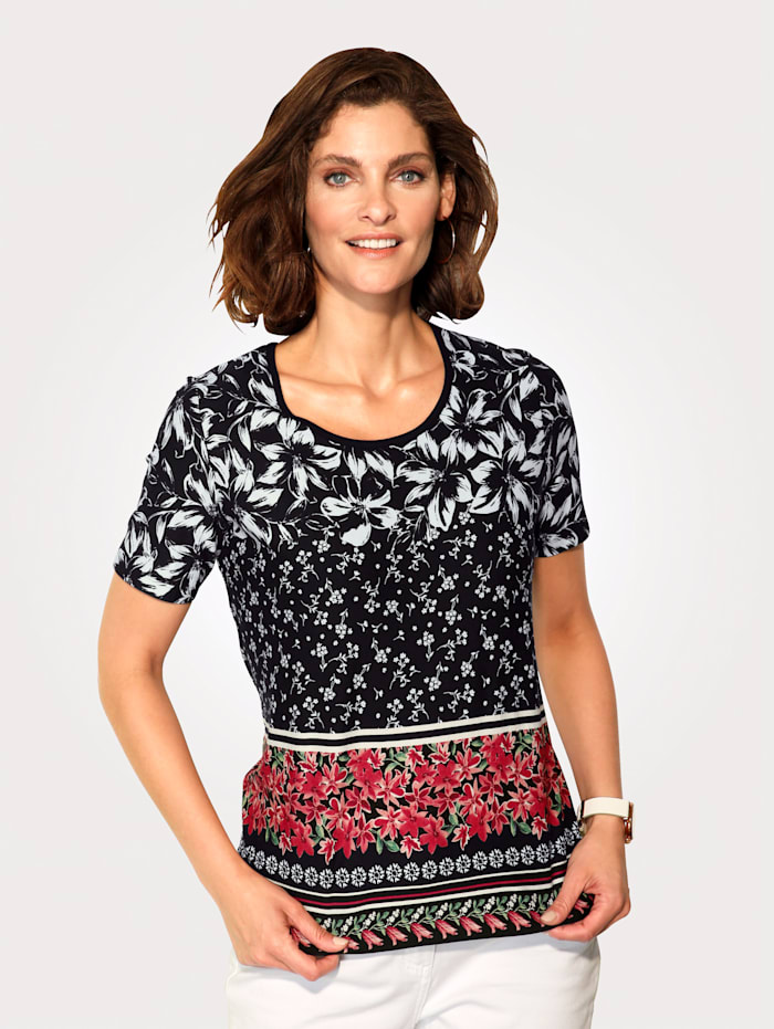 T-shirt à imprimé floral placé d'aspect rayé