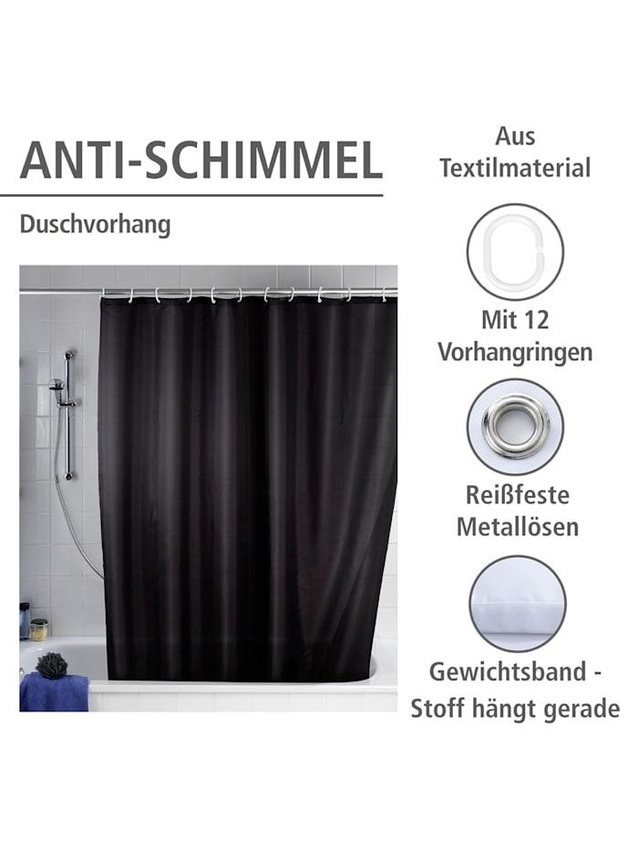 Anti-Schimmel Duschvorhang Uni Black, Textil (Polyester), 180 x 200 cm, waschbar
