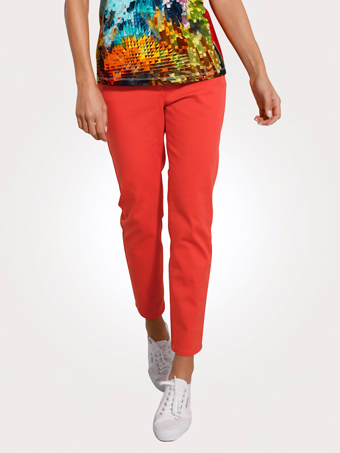 MONA Pantalon avec ceinture partiellement extensible en grandes tailles, Orange