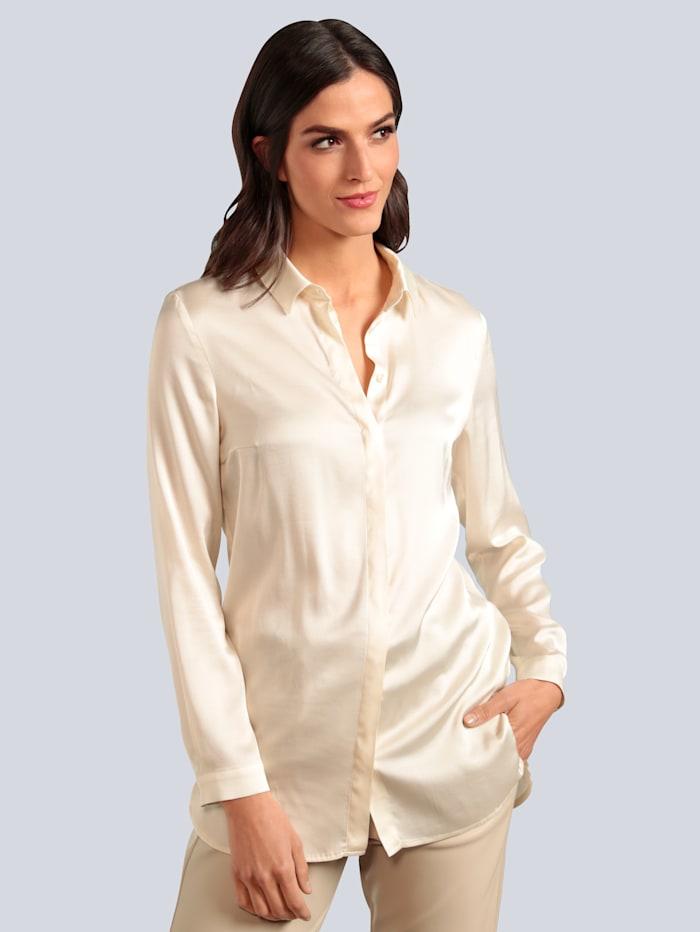 OUI Bluse in glänzender Optik, Off-white