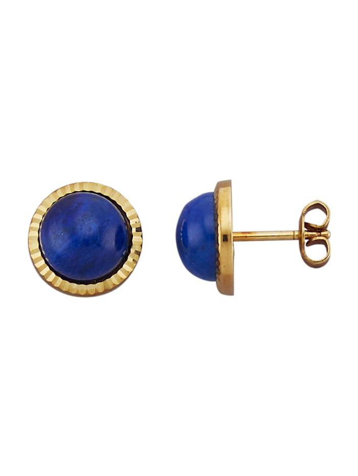 Diemer Farbstein Ohrstecker in Gelbgold 585, Blau