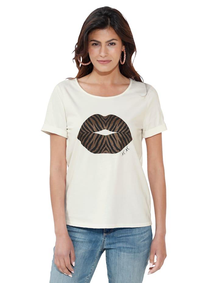 Cream Shirt met motief, Wit