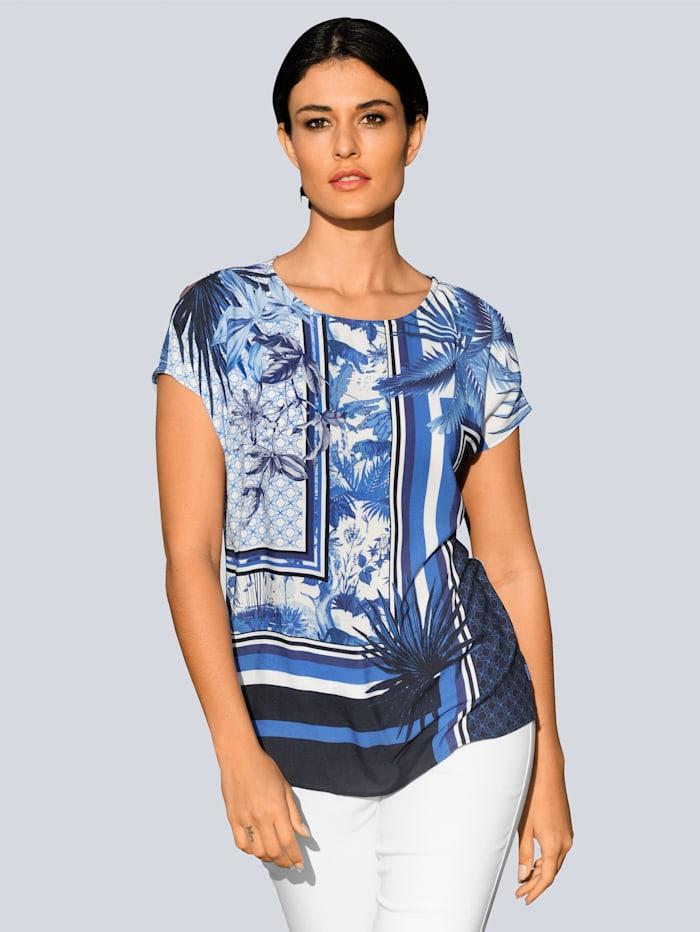 Alba Moda Blusenshirt im exklusiven Alba Moda Print, Marineblau/Blau/Off-white