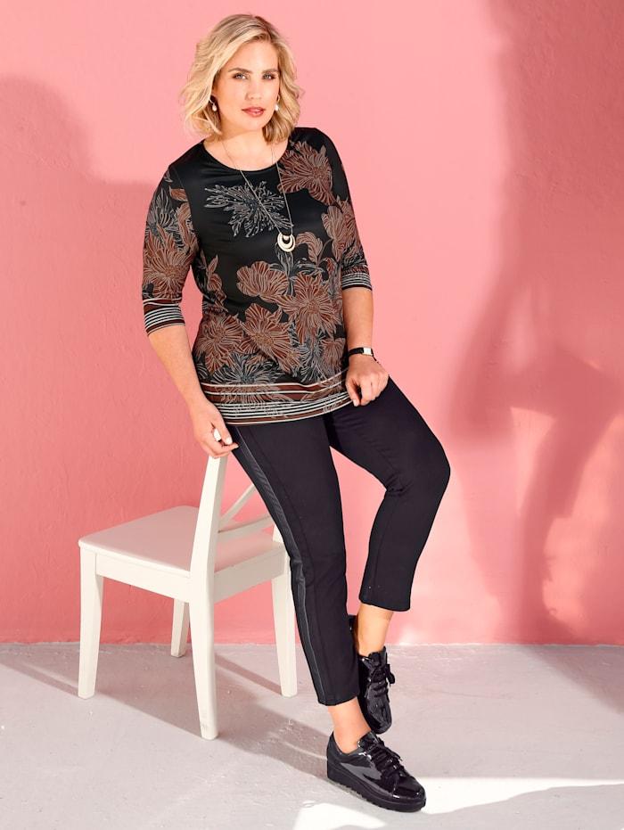 m. collection Shirt mit Blumendruckmuster, Schwarz/Braun/Weiß