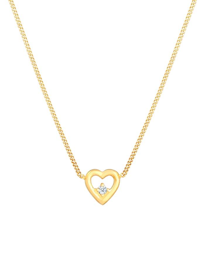 Halskette Herz Liebe Love Diamant (0.03 Ct.) 925 Silber