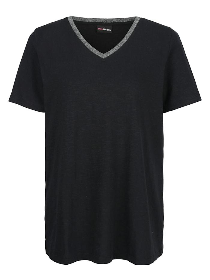 MIAMODA Shirt mit Glitzerband entlang des Ausschnitts, Schwarz