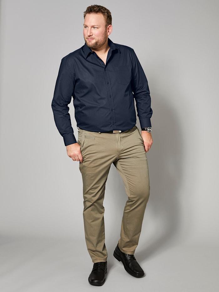 Men Plus Hemd aus reiner Baumwolle, Marineblau