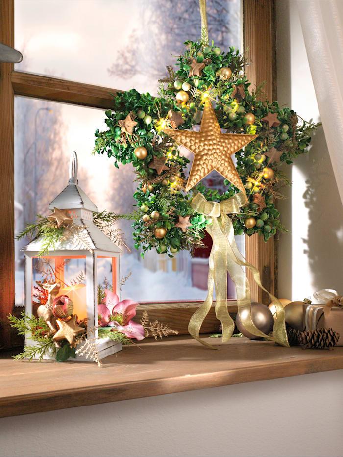 Tewa Adventsstjärna, grön/guldfärgad