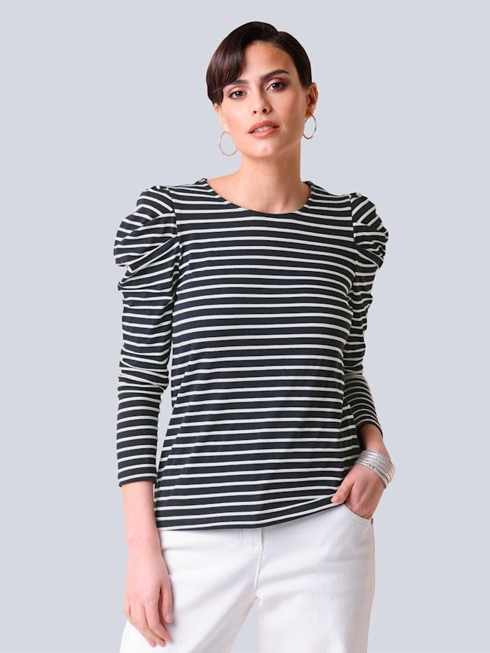 Alba Moda Shirt mit modischen Faltendetails, Marineblau/Weiß