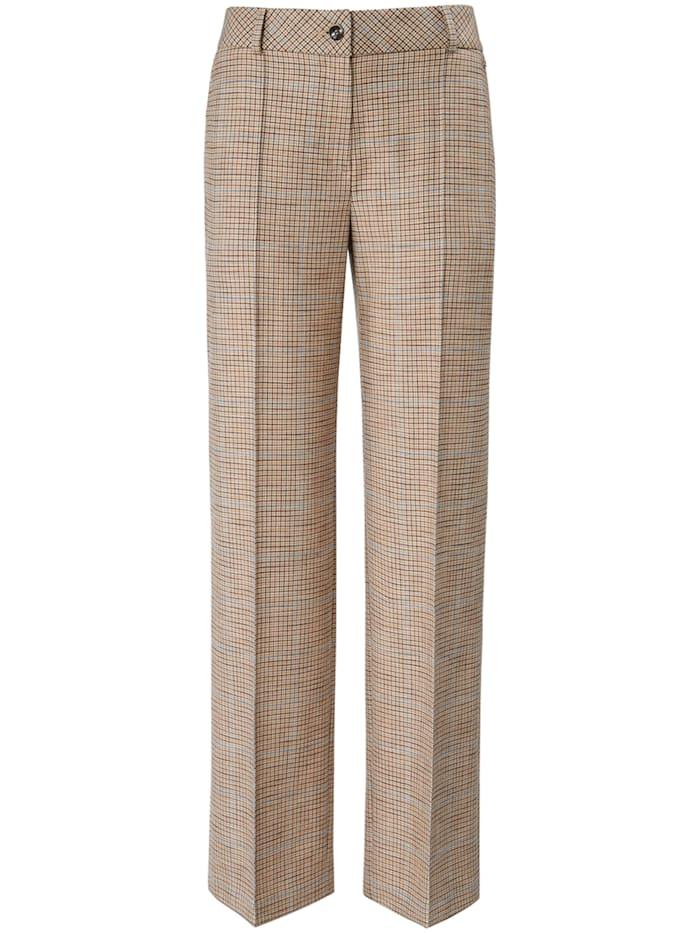 Basler Hose mit Bügelfalten und Karo-Muster, sand multicolour