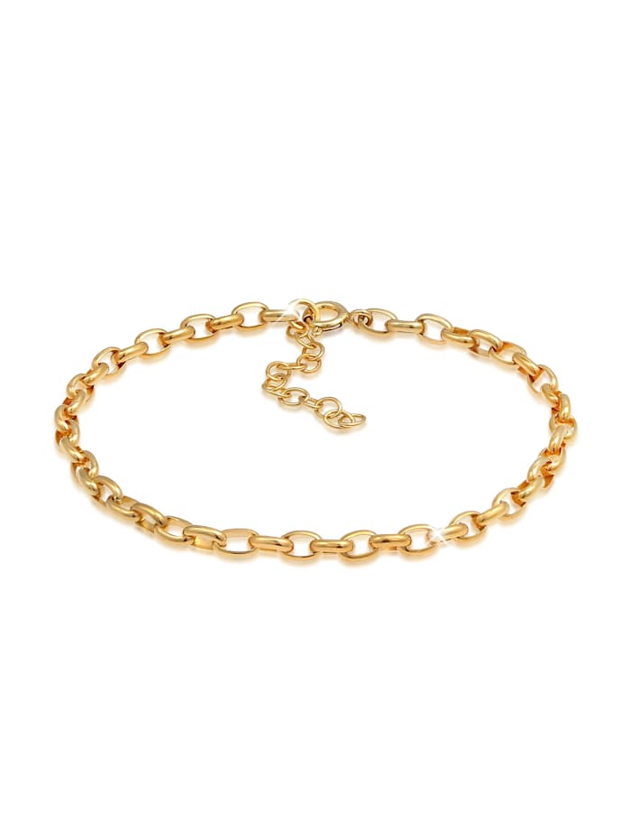 Nenalina Armband Charmträger Gliederarmband Oval Basic 925 Silber, Gold