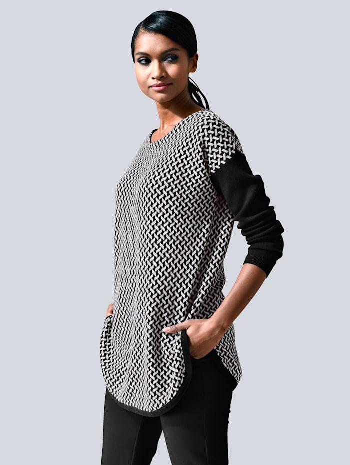 Alba Moda Pullover mit grafischem Muster, Schwarz/Weiß