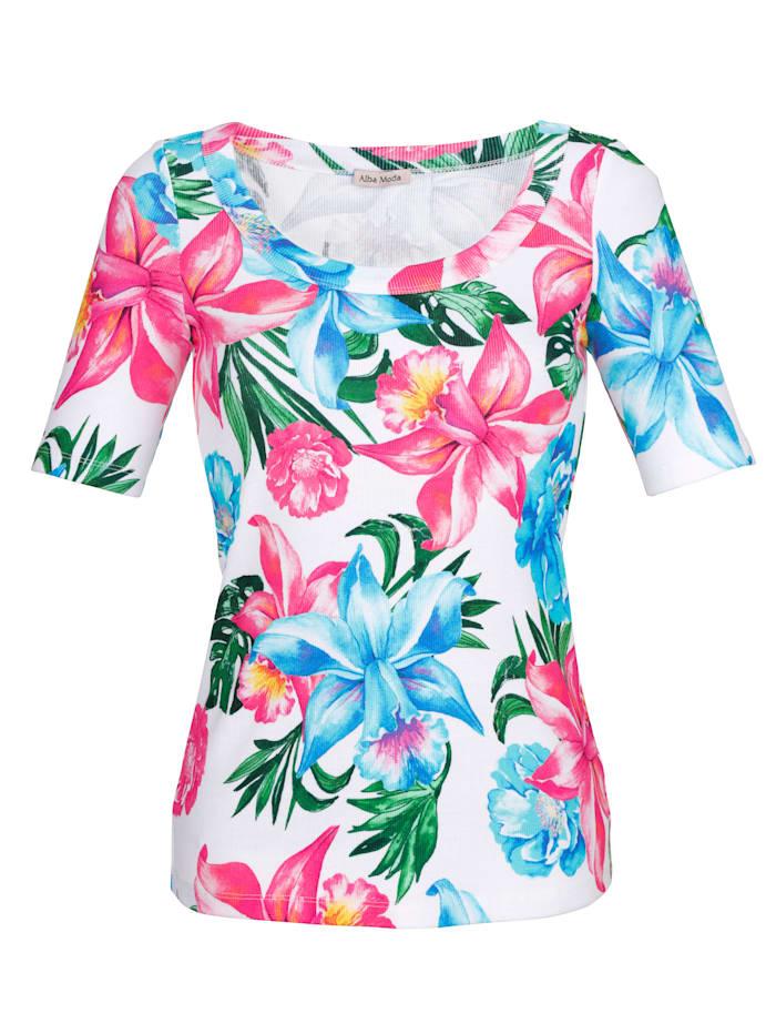 Alba Moda Strandshirt aus Rippware, Weiss-Bunt