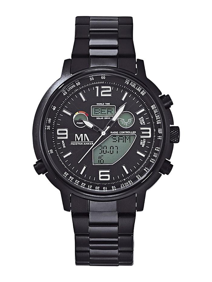 Meister Anker Chronographe solaire radio-piloté homme avec bracelet en acier inoxydable, Noir